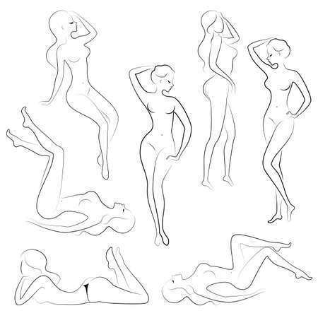 Collection. Silhouette d'une douce dame, elle s'assied et se lève. La fille a une belle silhouette. Une femme est un modèle jeune et élancé. Ensemble d'illustrations vectorielles.