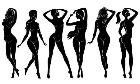 Sammlung. Silhouetten von schönen Damen. Schöne Mädchen stehen in verschiedenen Posen. Die Frauenfiguren sind nackt, feminin und schlank. Satz von Vektorillustrationen.