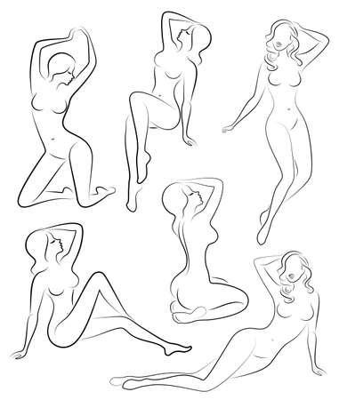 Verzameling. Silhouetten van mooie dames. Mooie meisjes zitten in verschillende poses. De figuren van vrouwen zijn naakt, vrouwelijk en slank. Set van vectorillustraties.