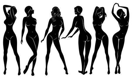 Verzameling. Silhouetten van mooie dames. Mooie meisjes staan in verschillende poses. De figuren van vrouwen zijn naakt, vrouwelijk en slank. Set van vectorillustraties. Vector Illustratie