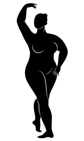 Silueta de una linda dama, ella está bailando ballet. La mujer tiene un cuerpo con sobrepeso. La chica es regordeta. Mujer bailarina, gimnasta. Ilustración vectorial.