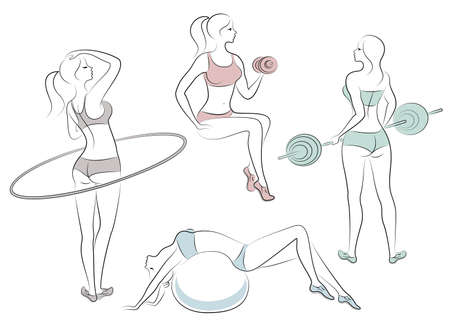 Collection. Silhouettes of lovely ladies. Girls are engaged in fitness the bar, nuggets, hoop, fitball. Women are young and slender, with beautiful figures. Vector illustration set.