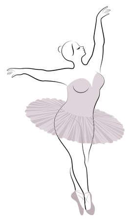 Silhouette einer süßen Dame, sie tanzt Ballett. Die Frau hat einen übergewichtigen Körper. Mädchen ist prall. Frauenballerina, Turnerin. Vektor-Illustration. Vektorgrafik