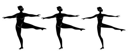 Collection. Silhouette of a cute lady, she is dancing ballet. A woman is overweight. The girl is plump, slim, thin. Woman ballerina, gymnast. Vector illustration set.