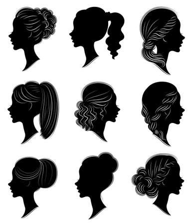 Sammlung. Silhouette eines Kopfes einer süßen Dame in verschiedenen Rahmen. Das Mädchen zeigt die Frisur einer Frau auf mittlerem und langem Haar. Geeignet für Logo, Werbung. Satz von Vektorillustrationen.