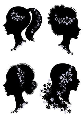 Collection. Profil de silhouette d'une tête de dame mignonne. La fille a une queue coupée pour de longs beaux cheveux, décorée de fleurs violettes. Convient pour le logo, la publicité. Jeu d'illustrations vectorielles.