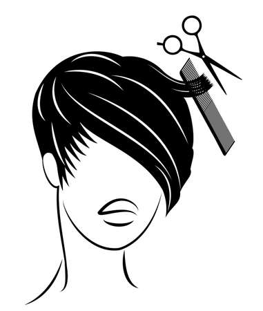 Silhouette of a head of a sweet lady. A girl in a beauty salon. The woman does her hair, cuts her hair. Vector illustration.