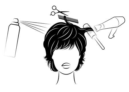 Silhouette of the head of a cute lady. The girl at the hairdresser. A woman makes a haircut, cuts hair, dries, varnish. Vector illustration.