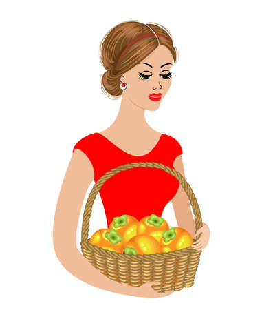 A sweet lady is holding a basket of persimmons. Ripe and sweet orange fruits. The girl is young and beautiful. Vector illustration. Stock Illustratie