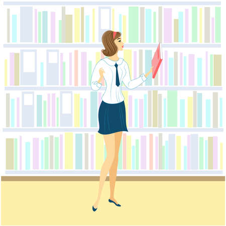 Schoolgirl in the library. A nice girl is looking at books for a lesson. Next shelf of the cabinet with books. Vector illustration. Illustration