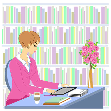 Profile of a beautiful young lady. A girl sits at a table in the library. A woman works as a librarian. Near the shelves with books. Vector illustration. Zdjęcie Seryjne - 122400556