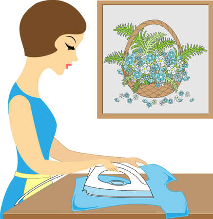 Profile of a beautiful lady. Cute girl ironing clothes. She is a caring hostess. Vector illustration.