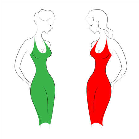 Silhouettes of two beautiful ladies. Girls are slim and elegant. Women dressed in evening dresses, red and green. Vector illustration.
