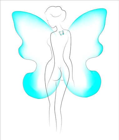 Silhouette d'une belle dame. La fille est mince et féminine. Derrière ses épaules se trouvent des ailes de papillon et un tatouage de papillon sur son dos. Illustration vectorielle. robe. Vecteurs