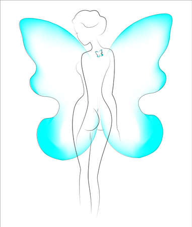 Silhouette of a beautiful lady. The girl is slim and feminine. Behind her shoulders are butterfly wings and a butterfly tattoo on her back. Vector illustration. dress.