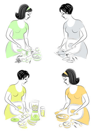 Collection. Profile of a beautiful pregnant lady. The girl prepares food fish, salad, vegetables, fruits, juice, eggs. The woman is a good wife and a neat housewife, a maid. Vector illustration. Imagens - 122400558