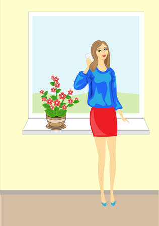 Picture of a beautiful young lady. Lovely cheerful girl in a blue blouse talking on the phone. It stands on a background of the color from which the blue sky is visible. Vector illustration.