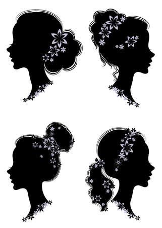 Collection. Profil de silhouette d'une tête de dame mignonne. La fille a une queue coupée pour de longs beaux cheveux, décorée de fleurs violettes.