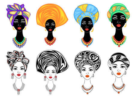 Collection. Silhouette of a head of a sweet lady. A bright shawl, a turban, tied to the head of an African-American girl. The woman is beautiful and stylish. Set of vector illustrations.
