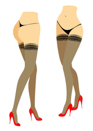 Group. Silhouette figure of a lady in a bikini. Slender legs of a girl in stockings and red shoes. The woman is running. Feet well-groomed, beautiful silky skin. Set of vector illustrations.
