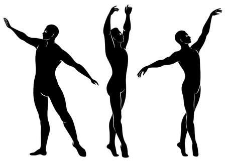 Kolekcja. Sylwetka szczupłego faceta, męskiej tancerki baletowej. Artystka ma piękną szczupłą sylwetkę, mocne ciało. Mężczyzna tańczy. Zestaw ilustracji wektorowych.