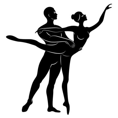 Silhouette of a cute lady and youth, they dance ballet. The woman and the man have beautiful slender figures. Girl ballerina and boyfriend dancer. Ballet dancer. Vector illustration.