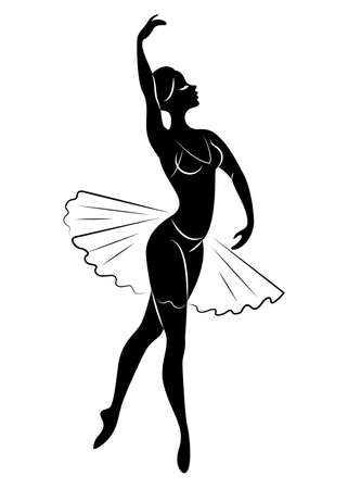 Silhouette of a cute lady, she is dancing ballet. The girl has a beautiful slim figure. Woman ballerina. Vector illustration. Vettoriali