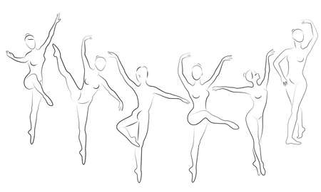 Collection. Silhouette of a cute lady, she is dancing ballet. The girl has a slim beautiful figure. Woman ballerina. Vector illustration set. Ilustração