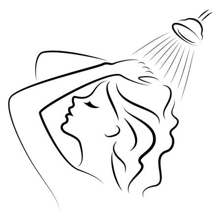 Silhouette of a beautiful young lady. The girl washes under the shower water. A woman washes her hair, her head with shampoo. Vector illustration. Illustration
