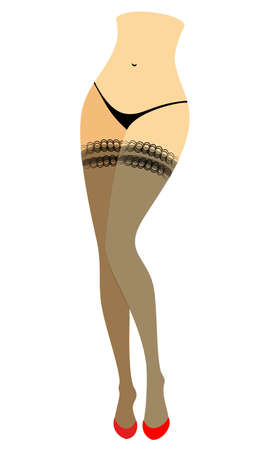 Silhouette figure of a lady in a bikini. Slender beautiful female legs, dressed in stockings. The womansits in a red high-heeled shoes. Vector illustration. Illustration