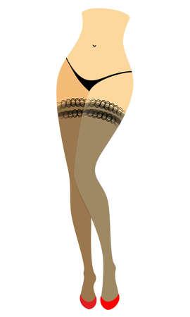 Sylwetka sylwetki damy w bikini. Smukłe piękne kobiece nogi, ubrane w pończochy. Kobieta siedzi w czerwonych butach na wysokim obcasie. Ilustracja wektorowa.
