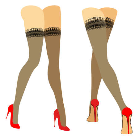 Silhouette figure of a lady. Slender legs in stockings, red shoes. Woman walking. Feet well-groomed, beautiful silky skin. Set of vector illustrations.