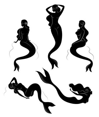 Collection. Silhouette of a mermaid. Girls bathe in a beautiful pose. The lady is young and slender. Fantastic image of a fairy tale. Set of vector illustrations.