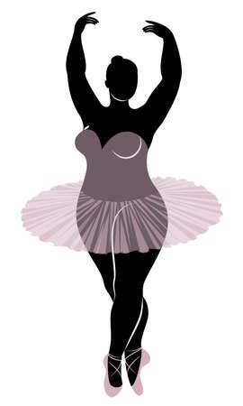 Silhouette d'une jolie dame, elle danse le ballet. La femme a un corps en surpoids. La fille est dodue. Ballerine femme, gymnaste. Illustration vectorielle. Vecteurs