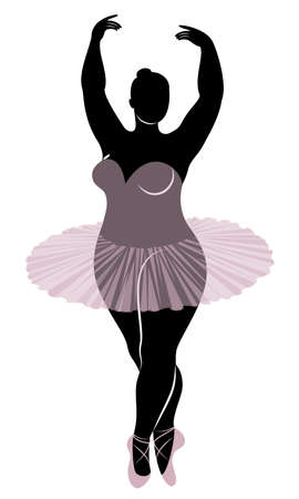 Silhouette of a cute lady, she is dancing ballet. The woman has an overweight body. Girl is plump. Woman ballerina, gymnast. Vector illustration. Vektorgrafik