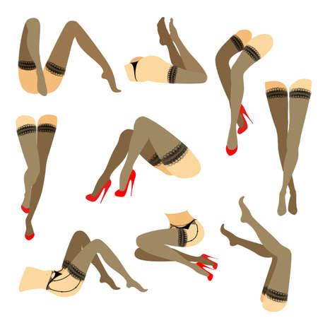 Colección. Silueta de esbeltas piernas femeninas hermosas. La dama está en diferentes poses. Chicas vestidas con medias de moda y calzadas con zapatos rojos de tacón alto. Conjunto de ilustración vectorial.