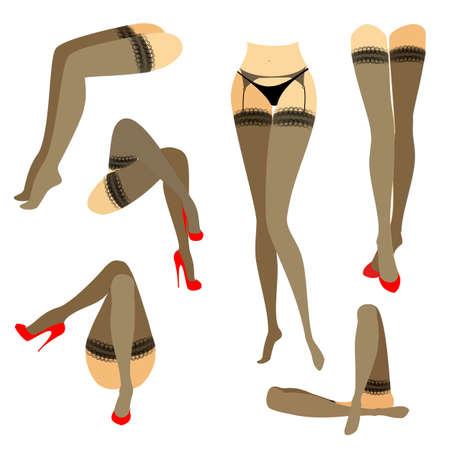 Collezione. Siluetta di belle gambe femminili snelle. La signora è in diverse pose. Ragazze vestite con calze alla moda e calzate con scarpe rosse a tacco alto. Insieme dell'illustrazione di vettore. Vettoriali
