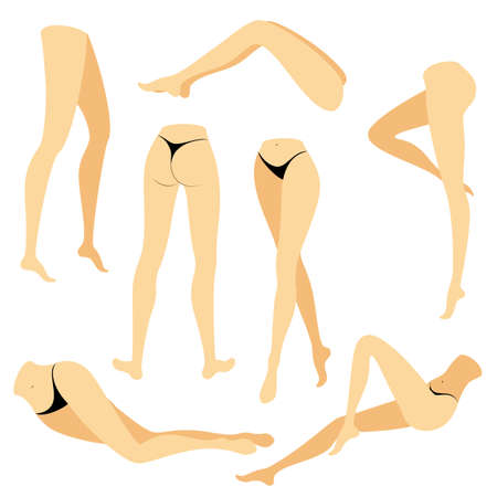Collection. Picture with silhouettes of slender beautiful female feet. Different postures of legs when the girl is standing, lies, lies. Color picture. Vector illustration set.  イラスト・ベクター素材