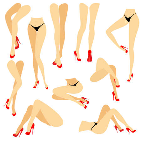 Collection. A picture with silhouettes of slender beautiful female legs in red high-heeled shoes. Different postures of legs when the girl is standing, lies, lies. Vector illustration set.
