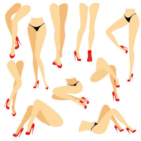 Sammlung. Ein Bild mit Silhouetten von schlanken, schönen weiblichen Beinen in roten Schuhen mit hohen Absätzen. Verschiedene Beinhaltungen, wenn das Mädchen steht, lügt, lügt. Vektor-Illustration-Set.