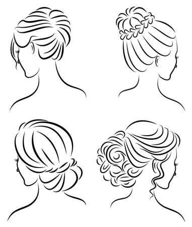 Colección. Perfil de silueta de la cabeza de una linda dama. La niña muestra su peinado para cabello medio y largo. Adecuado para logotipo, publicidad. Conjunto de ilustración vectorial. Logos