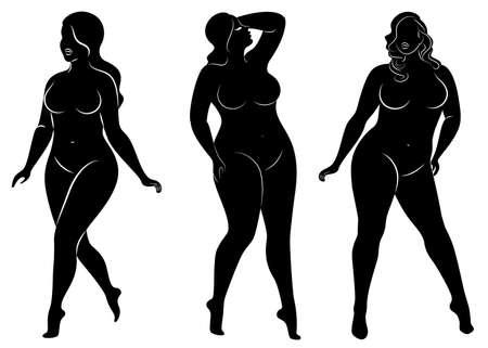 Collection. Silhouette d'une belle figure de femme. La fille est mince, la femme est en surpoids. La dame est debout, elle est mince et sexy. Ensemble d'illustrations vectorielles. Vecteurs