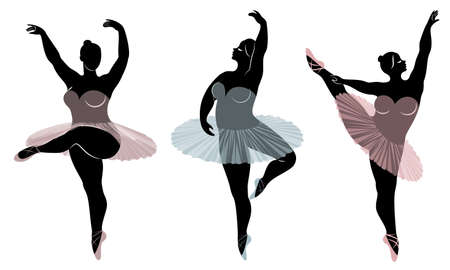 Collection. Silhouette of a cute lady, she is dancing ballet. Woman is overweight. The girl is plump and slim. Woman is ballerina, gymnast. Vector illustration set. Stock Illustratie
