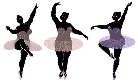 Kolekcja. Sylwetka ślicznej damy, ona tańczy balet. Kobieta ma nadwagę. Dziewczyna jest pulchna i szczupła. Kobieta jest baletnicą, gimnastyczką. Zestaw ilustracji wektorowych.