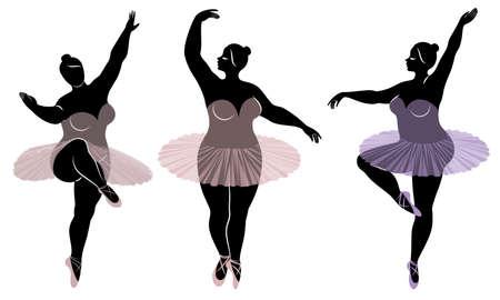 Sammlung. Silhouette einer süßen Dame, sie tanzt Ballett. Frau ist übergewichtig. Das Mädchen ist rundlich und schlank. Frau ist Ballerina, Turnerin. Vektor-Illustration-Set.