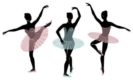 Kolekcja. Sylwetka ślicznej damy, ona tańczy balet. Dziewczyna ma piękną figurę. Kobieta baleriny. Zestaw ilustracji wektorowych.