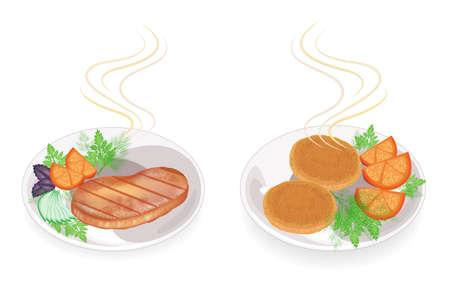 Collection. Sur une assiette de steak de viande frit chaud et escalopes. Garnir de tomate, de persil, d'aneth. Nourriture savoureuse et nutritive. Ensemble d'illustrations vectorielles. Vecteurs