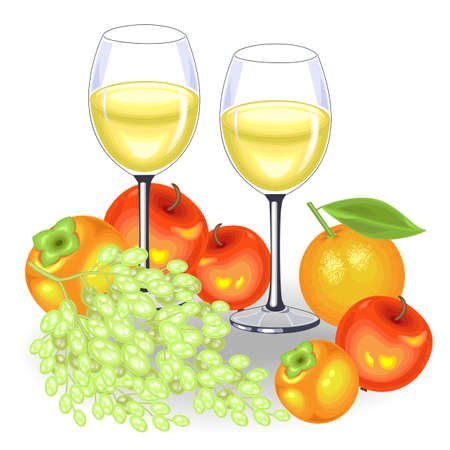 Thanksgiving Day. On the festive table are two glasses of white wine and fruit. A bunch of grapes, apples, persimmons and an orange. Vector illustration. Banque d'images - 122651746