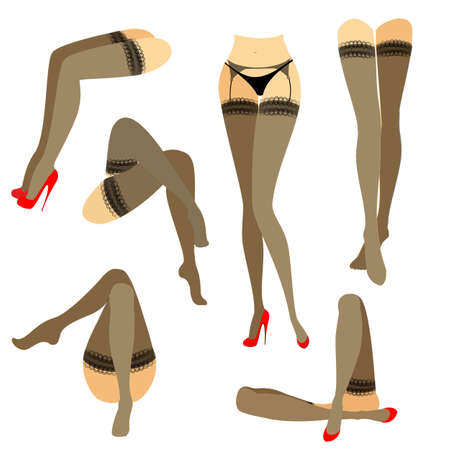 Collection. Silhouette of slender beautiful female legs. The lady is in different poses. Girls dressed in fashionable stockings and shod in red high-heeled shoes. Vector illustration set. Stock Vector - 122651758