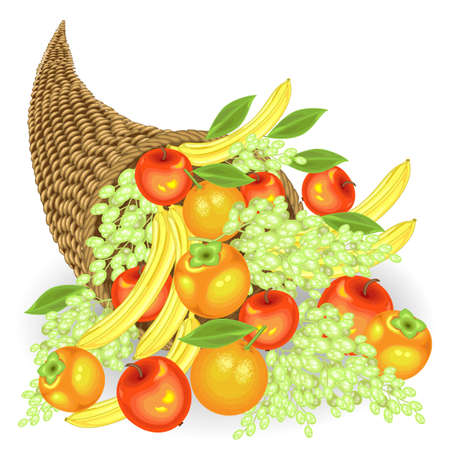 Thanksgiving Day. Collected a generous harvest of fresh fruits. In the cornucopia, apples, bananas, grapes, persimmons and oranges. Vector illustration.
